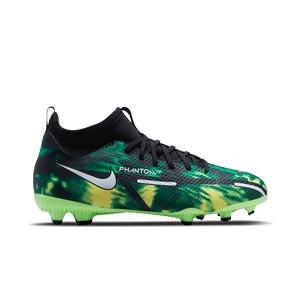 Nike Jr Phantom GT2 Academy DF SW FG/MG - Botas de fútbol infantiles con tobillera Nike FG/MG para césped artificial - verdes, negras