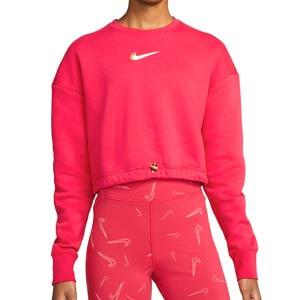 Sudadera Nike Sportswear mujer Fleece Crew - Sudadera de algodón Nike para mujer del FC Barcelona - rosa
