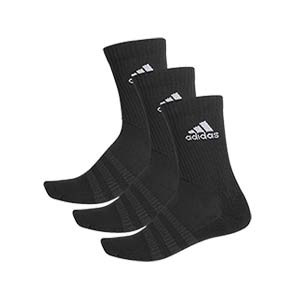 Pack calcetines media caña adidas Cushioned Crew 3pp - Pack 3 calcetines de media caña adidas - negros - frontal