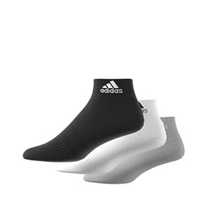 Calcetines tobilleros adidas Cushioned 3pp - Pack 3 calcetines tobilleros adidas - blanco, grises y negros - derecho