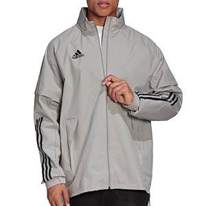 Chaqueta adidas Condivo 20 All Weather - Chaqueta con capucha de fútbol adidas - gris - frontal