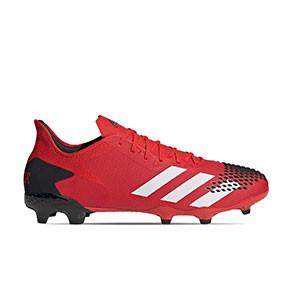 adidas Predator 20.2 FG - Botas de fútbol con tobillera adidas FG para césped natural o artificial de última generación - rojas y negras - pie derecho