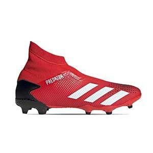 adidas Predator 20.3 LL FG - Botas de fútbol con tobillera sin cordones adidas FG para césped natural o artificial de última generación - rojas y negras - pie derecho