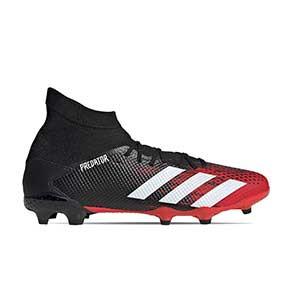 adidas Predator 20.3 FG - Botas de fútbol con tobillera adidas FG para césped natural o artificial de última generación - rojas y negras - pie derecho