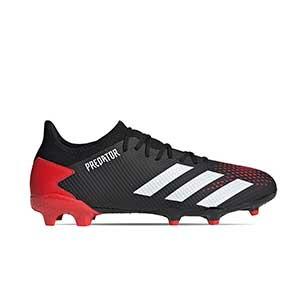 adidas Predator 20.3 Low FG - Botas de fútbol adidas FG para césped natural o artificial de última generación - rojas y negras - pie derecho