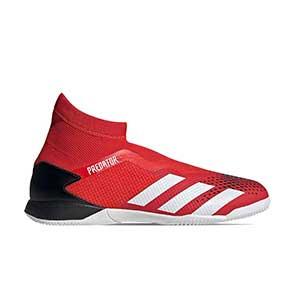 adidas Predator 20.3 LL IN - Zapatillas de fútbol sala con tobillera sin cordones adidas suela lisa IN - rojas y negras - pie derecho