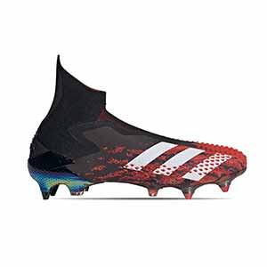 adidas Predator 20+ SG - Botas de fútbol con tobillera sin cordones adidas SG para césped natural blando - rojas y negras - pie derecho
