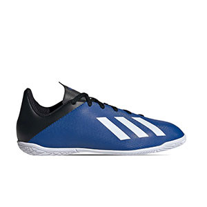 adidas X 19.4 IN J - Zapatillas de fútbol sala para niño adidas suela lisa IN - azules - pie derecho