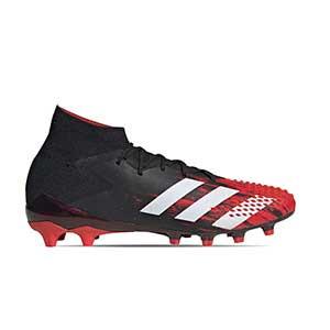 adidas Predator 20.1 AG - Botas de fútbol con tobillera adidas AG para césped artificial - rojas y negras - pie derecho