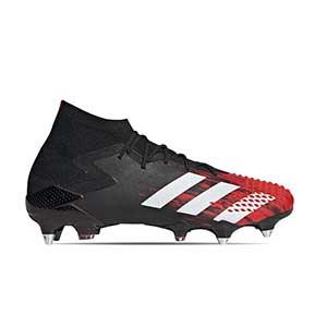 adidas Predator 20.1 SG - Botas de fútbol con tobillera adidas SG para césped natural blando - rojas y negras - pie derecho