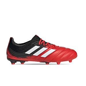 adidas Copa 20.1 FG J - Botas de fútbol infantiles de piel adidas FG para césped natural o artificial de última generación - rojas y negras - pie derecho