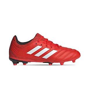 adidas Copa 20.3 FG J - Botas de fútbol de piel para niño adidas FG para césped natural o artificial de última generación - rojas y negras - pie derecho
