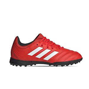 adidas Copa 20.3 TF J - Zapatillas de fútbol multitaco de piel para niño adidas suela turf - rojas y negras - pie derecho