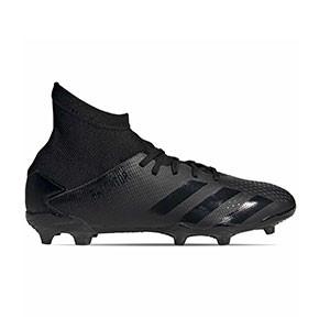 adidas Predator 20.3 FG J - Botas de fútbol con tobillera infantiles adidas FG para césped natural o artificial de última generación - negras - pie derecho