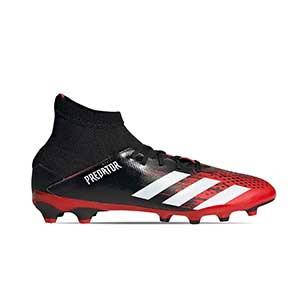 adidas Predator 20.3 MG J - Botas de fútbol con tobillera infantiles adidas MG para césped artificial - rojas y negras - pie derecho