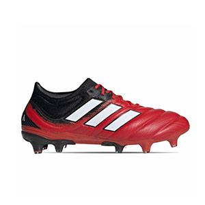 adidas Copa 20.1 FG - Botas de fútbol de piel de canguro adidas FG para césped natural o artificial de última generación - rojas y negras - pie derecho