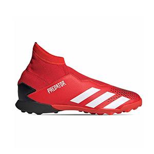 adidas Predator 20.3 LL TF J - Zapatillas de fútbol multitaco con tobillera sin cordones infantiles adidas suela turf - rojas y negras - pie derecho