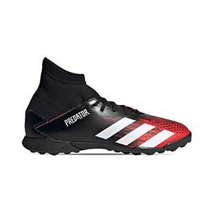 adidas Predator 20.3 TF - Zapatillas de fútbol multitaco con tobillera infantiles adidas suela turf - rojas y negras - pie derecho