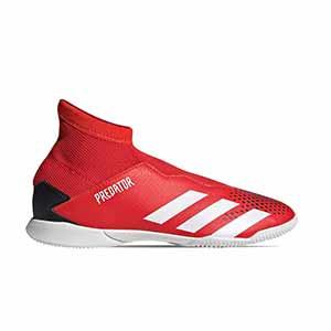 adidas Predator 20.3 LL IN J - Zapatillas de fútbol sala con tobillera sin cordones infantiles adidas suela lisa IN - rojas y negras - pie derecho