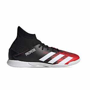 adidas Predator 20.3 IN J - Zapatillas de fútbol sala con tobillera infantiles adidas suela lisa IN - rojas y negras - pie derecho