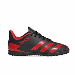 adidas Predator 20.4 TF J - Zapatillas de fútbol multitaco con tobillera infantiles adidas suela turf - rojas y negras - pie derecho