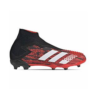 adidas Predator 20+ FG J - Botas de fútbol con tobillera sin cordones infantiles adidas FG para césped natural o artificial de última generación - rojas y negras - pie derecho