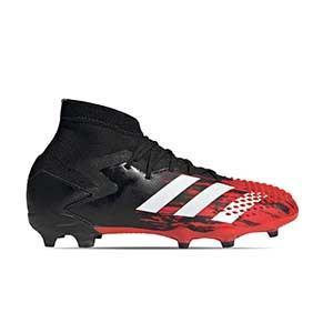 adidas Predator 20.1 FG J - Botas de fútbol con tobillera infantiles adidas FG para césped natural o artificial de última generación - rojas y negras - pie derecho