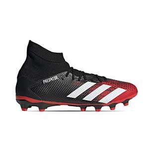 adidas Predator 20.3 MG - Botas de fútbol con tobillera adidas MG para césped artificial - rojas y negras - pie derecho