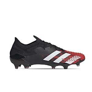 adidas Predator 20.1 Low FG - Botas de fútbol adidas FG para césped natural o artificial de última generación - rojas y negras - pie derecho