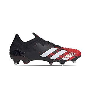 adidas Predator 20.1 Low SG - Botas de fútbol adidas SG para césped natural blando - rojas y negras - pie derecho