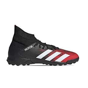 adidas Predator 20.3 TF - Zapatillas de fútbol multitaco con tobillera adidas suela turf - rojas y negras - pie derecho