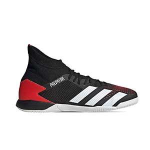 adidas Predator 20.3 IN - Zapatillas de fútbol sala con tobillera adidas suela lisa IN - rojas y negras - pie derecho