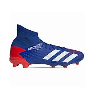 adidas Predator 20.3 FG - Botas de fútbol con tobillera adidas FG para césped natural o artificial de última generación - azules - pie derecho