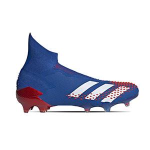 adidas Predator 20+ FG - Botas de fútbol con tobillera sin cordones adidas FG para césped natural o artificial de última generación - azules - pie derecho