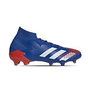 adidas Predator 20.1 FG - Botas de fútbol con tobillera adidas FG para césped natural o artificial de última generación - azules - pie derecho