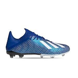 adidas X 19.2 FG - Botas de fútbol adidas FG para césped natural o artificial de última generación - azules - pie derecho