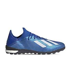 adidas X 19.1 TF - Zapatillas de fútbol multitaco adidas suela turf - azules - pie derecho