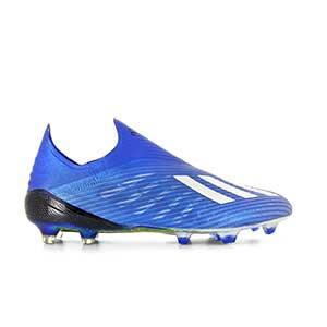 adidas X 19+ FG - Botas de fútbol sin cordones adidas FG para césped natural o artificial de última generación - azules - pie derecho