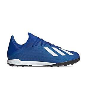 adidas X 19.3 TF - Botas de fútbol multitaco adidas suela turf - azules - pie derecho