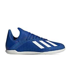 adidas X 19.3 IN J - Zapatillas de fútbol sala infantiles adidas suela lisa IN - azules - pie derecho