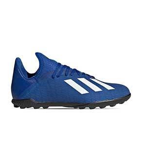 adidas X 19.3 TF J - Botas de fútbol multitaco infantiles adidas suela turf - azules - pie derecho
