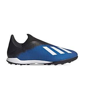 adidas X 19.3 LL TF - Zapatillas multitaco sin cordones adidas suela turf - azules - pie derecho