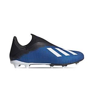 adidas X 19.3 LL FG - Botas de fútbol sin cordones adidas FG para césped natural o artificial de última generación - azules - pie derecho