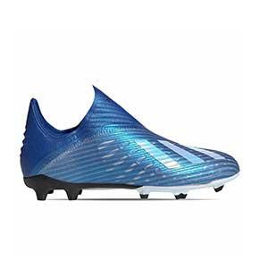 adidas X 19+ FG J - Botas de fútbol sin cordones infantiles adidas FG para césped natural o artificial de última generación - azules - pie derecho