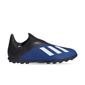 adidas X 19.3 LL TF J - Zapatillas multitaco sin cordones infantiles adidas suela turf - azules - derecho