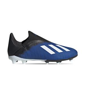 adidas X 19.3 LL FG J - Botas de fútbol sin cordones infantiles adidas FG para césped natural o artificial de última generación - azules - derecho
