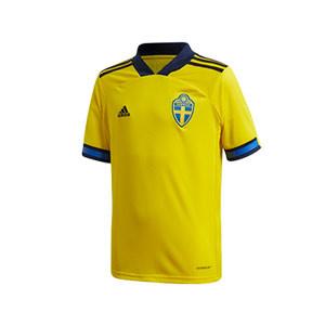 Camiseta adidas Suecia niño 2019 2020 - Camiseta infantil primera equipación selección sueca 2019 2020 - amarilla - frontal