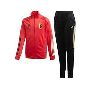 Chándal adidas Bélgica niño 2019 2020 - Conjunto de chándal infantil adidas de la selección belga 2019 2020 - rojo y negro - frontal