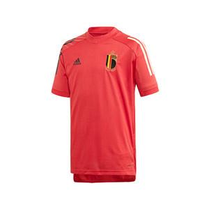 Camiseta adidas Bélgica niño entreno 2019 2020 - Camiseta infantil de manga corta de entrenamiento selección belga 2019 2020 - roja - frontal