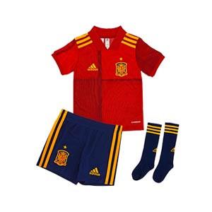 Equipación adidas España niño pequeño 2020 2021 - Conjunto infantil 1-6 años primera equipación selección española 2020 2021 - rojo y azul marino - frontal